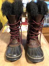 Sorel womens JOAN OF ARCTIC fur winter boots wine cherry red RARE sz 7 NEAR MINT
