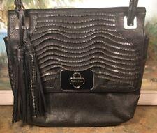calvin klein handbag crossbody Zipper Detail Tassels Black
