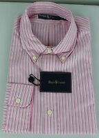Polo Ralph Lauren Dress Shirt Mens 16.5 42 Pink White Blue Pony Cotton