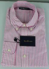 Ralph Lauren Polo Dress Shirt Mens 17.5 44 Pink White Blue Pony Cotton
