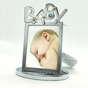 Baby Gift Shower Present Picture Frame made with Swarovski Crystals NEW in box