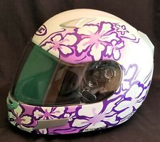 """Women's HJC """"Eve"""" CL-SP Purple & White Floral Full Face Motorcycle Helmet Small"""