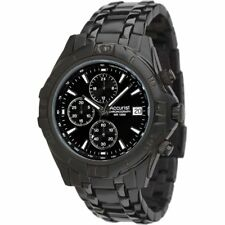 Accurist Chronograph Black Dial Black Stainless Steel Bracelet Mens Watch MB837