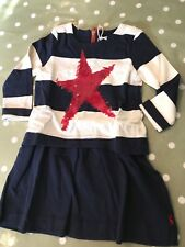 Joules Lucy Navy Stripes Red Star Layered Sweatshirt Dress. 5 Years Lovely