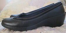 "CLARKS Bendables DARK BROWN Pebbled Leather 2"" Wedge Heels Shoes Sz 8 - EXCEL"