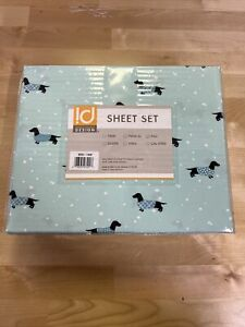 Intelligent Design ID20-1440 Wrinkle Free Sheet Set Full Size Novelty Aqua Dogs
