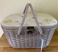 More details for sewing basket box stunning wicker linen bee design large super quality
