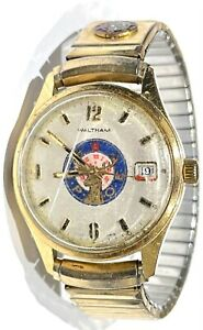 Vintage WALTHAM Manual Wind Gold Tone Men's Watch Elks Lodge B.P.C.E Logo Dial