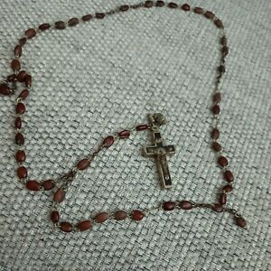 1937 Catholic Rosary Brown Bead Necklace With Silver Crucifix
