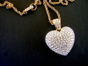 """Swarovski Crystal Puff Heart large Gold Tone Pendant Necklace on 32"""" chain"""
