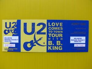 U2 - BB KING 1989 WELLINGTON CONCERT TICKET - WHITE