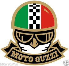 MOTO GUZZI WITH HELMET BUMPER STICKER TOOL BOX STICKER HELMET STICKER
