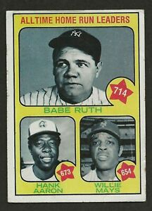 1973 Topps #1 All Time Home Run Leaders Babe Ruth, Hank Aaron, & Willie Mays