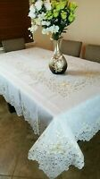 "Beige 90"" Square Floral Embroidered Organza Tablecloth Napkins Wedding Party"