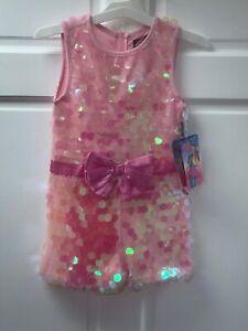 Jojo's Closet Jojo Siwa Pink Blush Bow Sequin Shorts Romper Jumpsuit XL 14/16