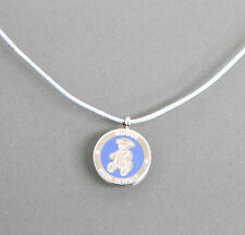 New Gucci Sterling Silver Teddy Bear Pedant Necklace Light Blue 272873 1281