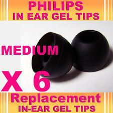 6 Philips In Ear Medium Gel Tips Replacement EarBuds HeadPhone Headset Earphones