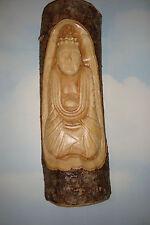 Handmade Wooden ~Lucky Buddha~Log Carving, Mask, Plaque, Garden,~D~ uk seller