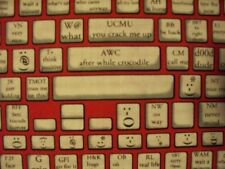 KEYBOARD TYPING COMPUTER PHONE TABLET APP RED BLACK COTTON FABRIC BTHY