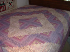 "AMISH LILAC ""LOG CABIN"" FULL/QUEEN QUILT SIZE  91"" X 101"