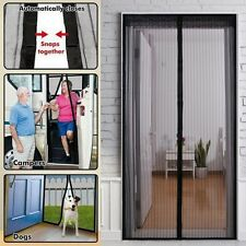 Hands Free Door Magnetic Curtain Fly Screen Mosquito Bug Magic Magna Mesh Black