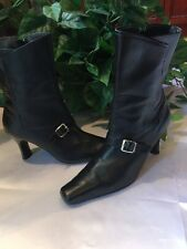 Black Leather Boots Size 7 Heels Mid Calf Bisou Bisou Buckle Square Toe Zipper