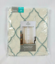 "JCPenney Home Ivory Blue Bayview Embroidery Grommet Curtain Panel, 50""x63"""