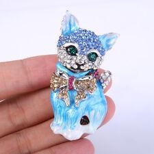 Cat Pet Blue Enamel Bowknot Austrian Crystal Brooch Pin Animal Fashion Girl Gift