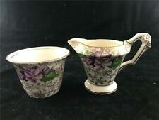 James Kent Longton Violet Chintz Individual Creamer & Sugar Bowl 5018
