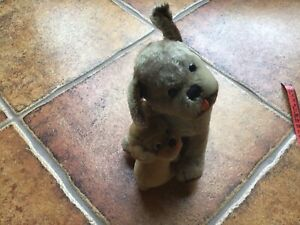 VINTAGE STEIFF MOHAIR MOPSY DOG WITH BABY WITH BUTTON NEED HOME!