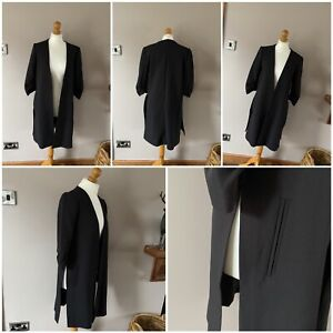 atmosphere long line jacket black 3/4 length ruffle sleeves size10 side splits
