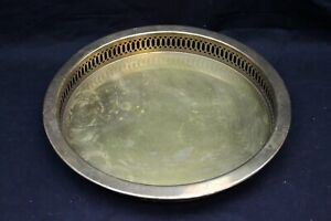 """14"""" VINTAGE Brass Serving Tray Ornate Trim Made in Hong Kong Mid-Century - NICE"""