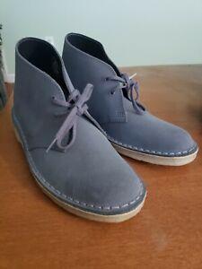 NEW Clarks Originals Desert Boots Charles F Stead Blue Grey Mens 7.5 Crepe Sole