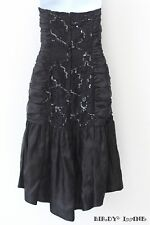 Vtg Black Satin Dress Lace Sequins Ruched Hi Lo Hem Prom Formal Gown Womens 9/10