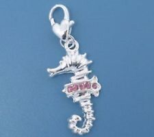 SILVER SEAHORSE PINK RHINESTONE CLIP-ON CHARM - NEW - SILVER PLATE