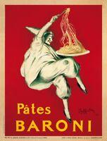 Pates Baroni, 1921 Leonetto Cappiello Art Print Italian Pasta Chef Poster 24x32