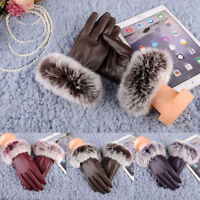 Fashion Women Girl Winter Soft Leather Mitten Gloves Winter Warm Driving Mittens