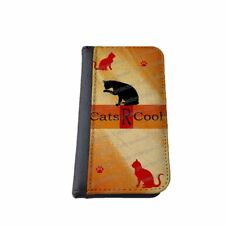 Cats are cool cat iPhone flip case Samsung Galaxy Note wallet cat lovers gift