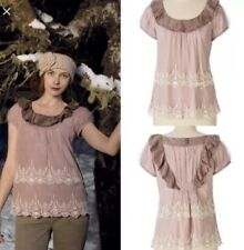 Floreat Anthropologie Lace Silk Trim Ruffle Tiered Top Frosted Sigh Blouse sz 8