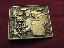 Vintage Drum Set Drummer Solid Brass Belt Buckle