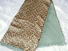 Vintage 1960s Duggie Majestic scarf gold rayon green paisley green wool back