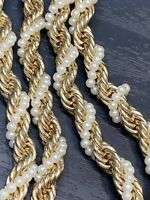 Vintage Signed Charter Club Twisted  Pearl Long Sweater Necklace Chunky Gold 36""