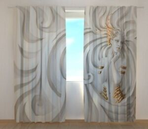 Curtain with Greek Relief Print Wellmira Ready Made 3D Bedroom Gray Living Room