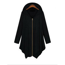 Women Lady Zipper Hooded Hoodie Sweatshirt Jacket Cape Coat Top PLUS L-3XL