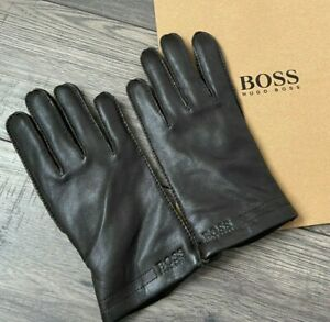 HUGO BOSS BROWN LAMB LEATHER GLOVES SIZE 8 WITH LOGO GIFT BAG