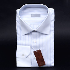 $795 NWT STEFANO RICCI White Striped Cotton Point Collar Dress Shirt 16 1/2 42