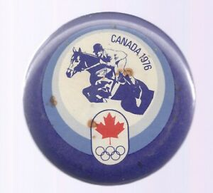 1976 Montreal Olympic Pin Equestrian Canada Maple Leaf Rings