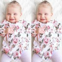 Adorable Baby Kid Girls Floral Long Sleeve Cotton Bodysuit Romper Jumpsuit 0-18M