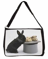 Rabbit and Guinea Pigs in Top Hat Large Black Laptop Shoulder Bag Schoo, AR-10SB