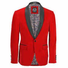 Mens Velvet Tuxedo Suit Jacket Black Shawl Lapel Blazer Smart Formal Dinner Coat Chest UK 44 EU 54 Red